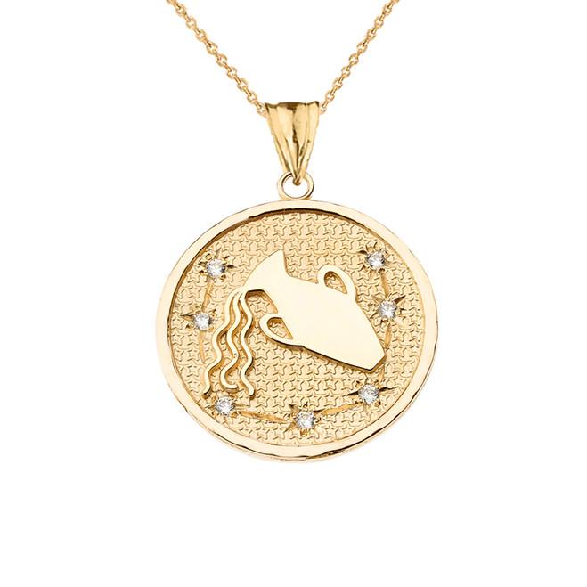 Designer Diamond Aquarius Constellation Pendant Necklace in Yellow Gold