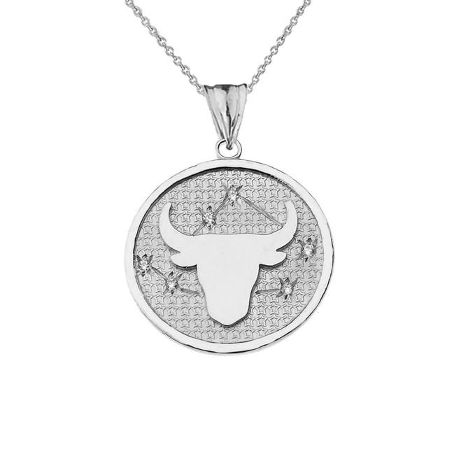 Designer Diamond Taurus Constellation Pendant Necklace in White Gold