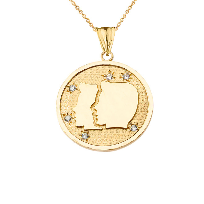 Designer Diamond Gemini Constellation Pendant Necklace in Yellow Gold