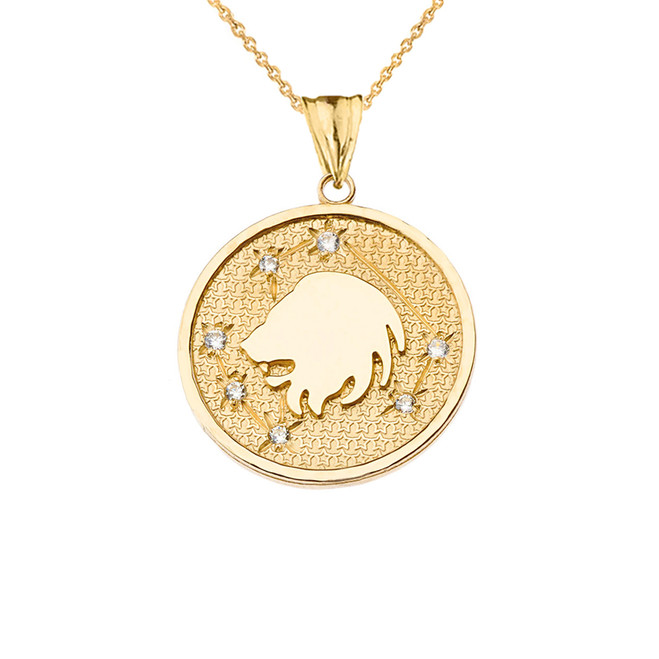 Designer Diamond Leo Constellation Pendant Necklace in Yellow  Gold