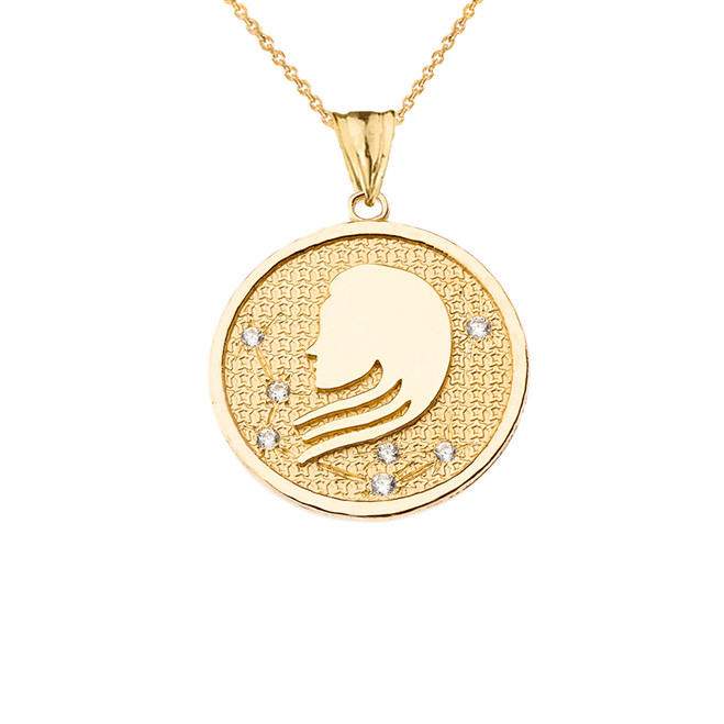 Designer Diamond Virgo Constellation Pendant Necklace in Yellow Gold