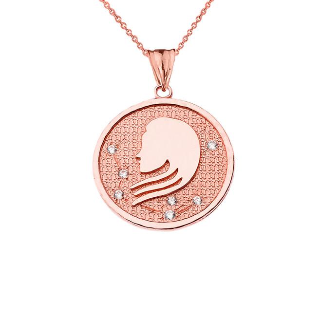 Designer Diamond Virgo Constellation Pendant Necklace in Rose Gold
