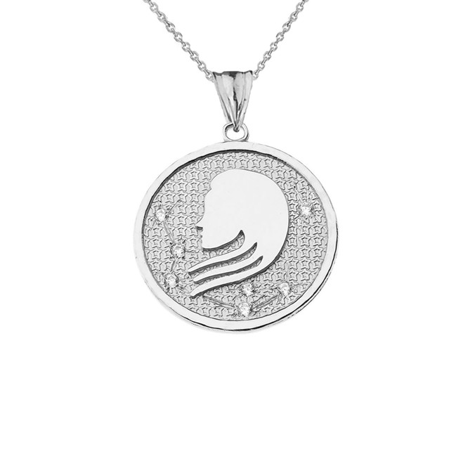 Designer Diamond Virgo Constellation Pendant Necklace in White Gold