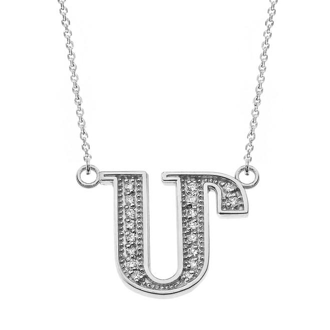 "14K Solid White Gold Armenian Alphabet Diamond Initial ""M"" Necklace"