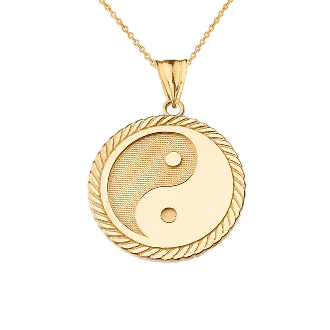 Yin Yang Pendant Necklace in Yellow Gold