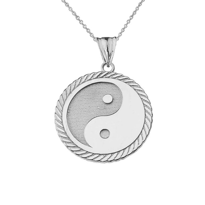 Yin Yang Pendant Necklace in White Gold