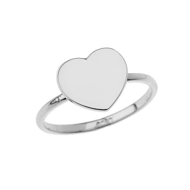 Heart Signet Ring in White Gold