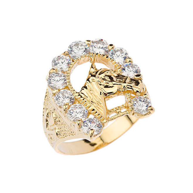 Mens Cubic Zirconia Horseshoe Ring in Yellow Gold