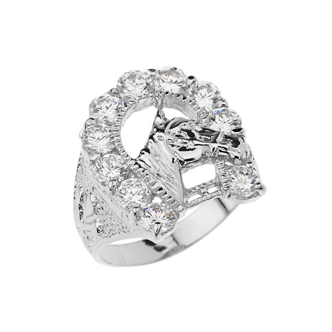 Mens Cubic Zirconia Horseshoe Ring in White Gold