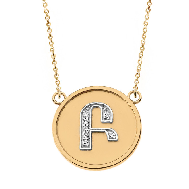 "14K Solid Two Tone Yellow Gold Armenian Alphabet Diamond Disc Initial  ""B"" or ""P""  Necklace"