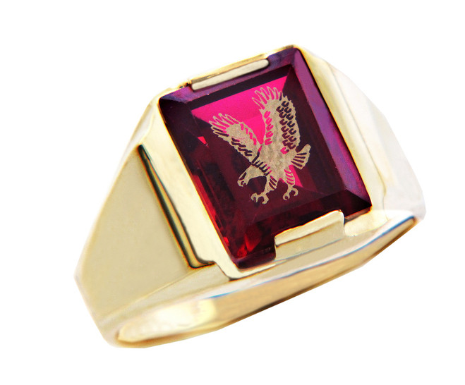 Men's Gold Rings - The Garnet Red Stone and Gold Eagle Ring