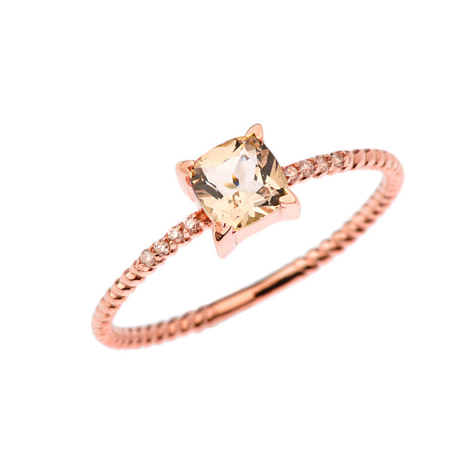 Dainty Diamond and Genuine Morganite Rope Ring in Rose Gold