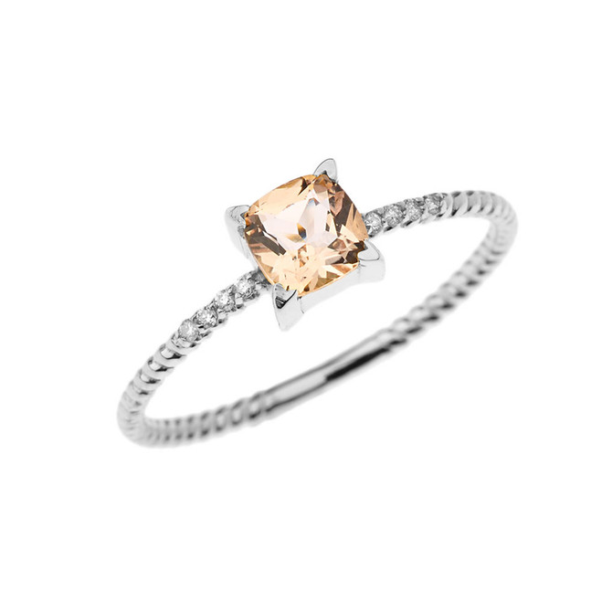 Dainty Diamond and Genuine Morganite Rope Ring in White Gold