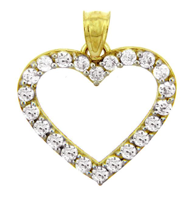 Gold Pendants - The Elegant Gold Heart Pendant with CZ Diamonds