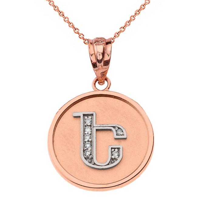 "Solid Two Tone Rose Gold Armenian Alphabet Diamond Disc Initial ""E"" Pendant Necklace"