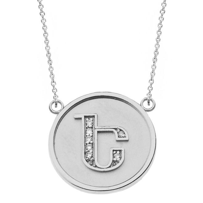 "14K Solid White Gold Armenian Alphabet Diamond Disc Initial ""E"" Necklace"