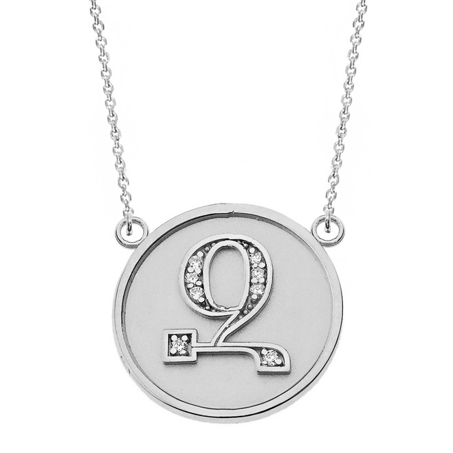 "14K Solid White Gold Armenian Alphabet Diamond Disc Initial ""Z"" Necklace"