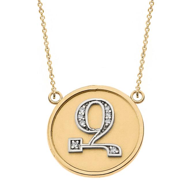 "14K Solid Two Tone Yellow Gold Armenian Alphabet Diamond Disc Initial ""Z"" Necklace"