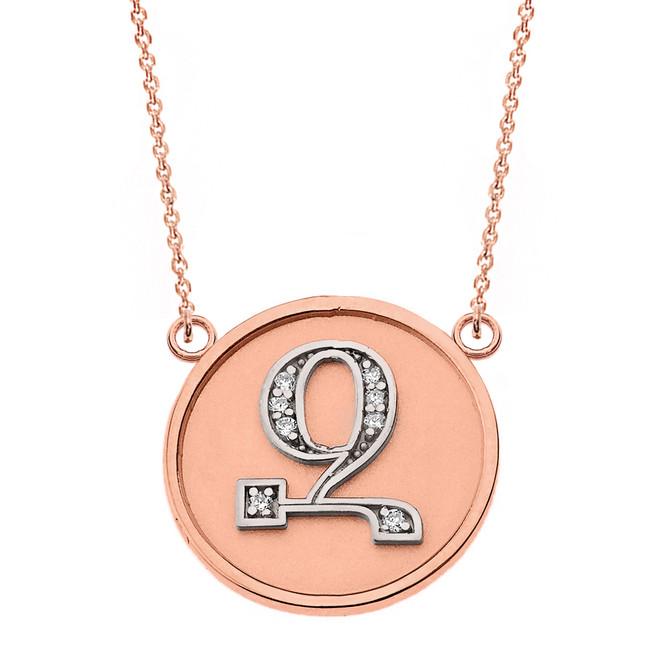 "14K Solid Two Tone Rose Gold Armenian Alphabet Diamond Disc Initial ""Z"" Necklace"