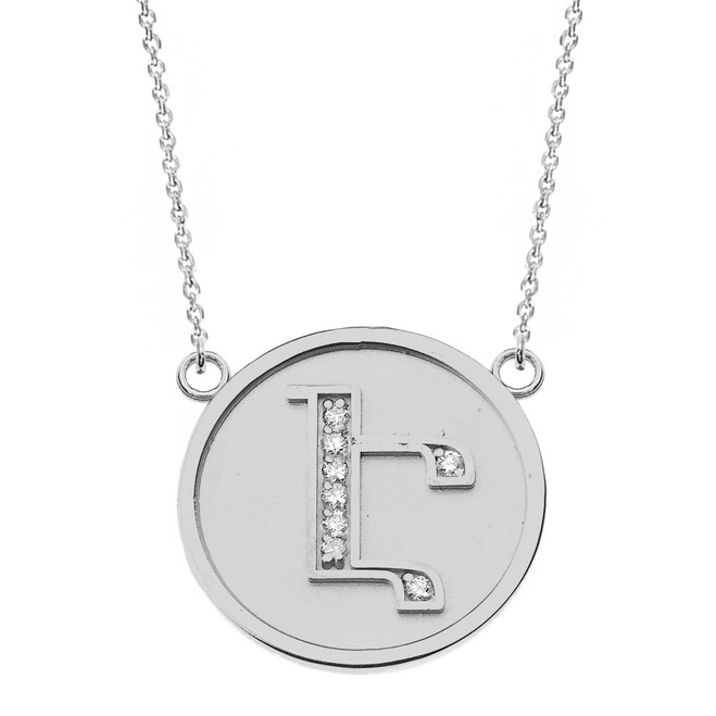 """14K Solid White Gold Armenian Alphabet Diamond Disc Initial """"Eh"""" Necklace"""
