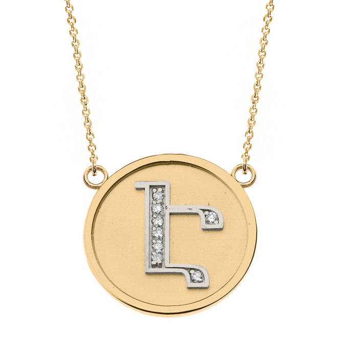 "14K Solid Two Tone Yellow Gold Armenian Alphabet Diamond Disc Initial ""Eh"" Necklace"