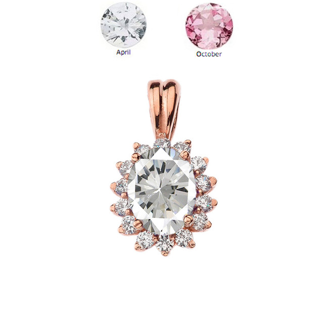 Princess Diana Inspired Halo Personalized CZ  Birthstone & Diamond Pendant Necklace in Rose Gold