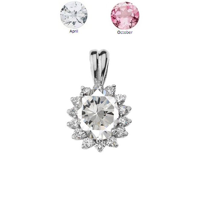 Princess Diana Inspired Halo Personalized CZ  Birthstone & Diamond Pendant Necklace in White Gold