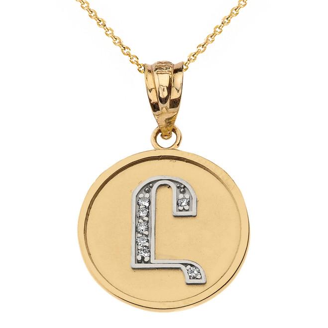 "Solid Two Tone Gold Armenian Alphabet Diamond Disc Initial ""Uh"" Pendant Necklace"