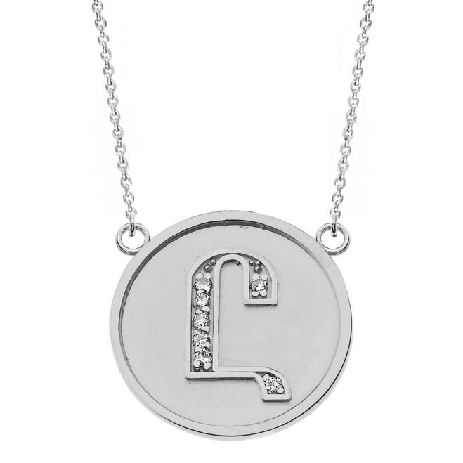 "14K Solid White Gold Armenian Alphabet Diamond Disc Initial ""Uh"" Necklace"
