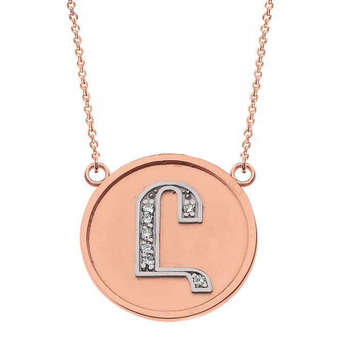 "14K Solid Two Tone Rose Gold Armenian Alphabet Diamond Disc Initial ""Uh"" Necklace"