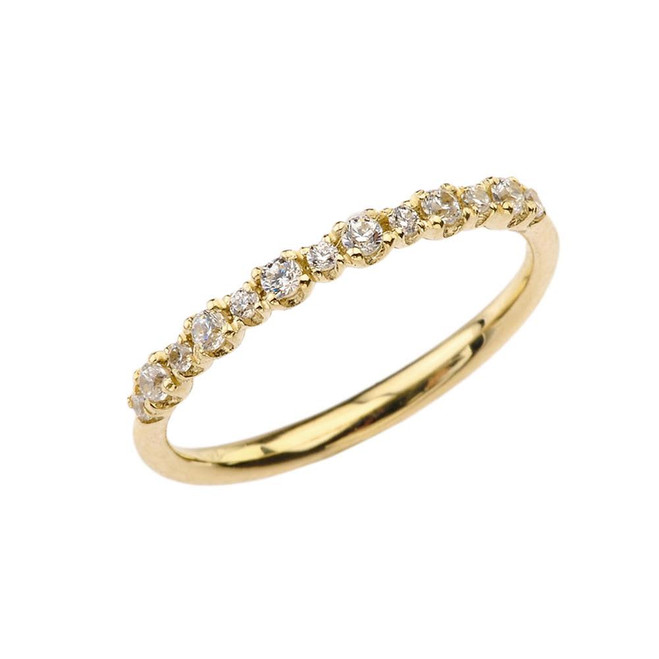 Dainty Fashion Chic Cubic Zirconia Ring in Yellow Gold