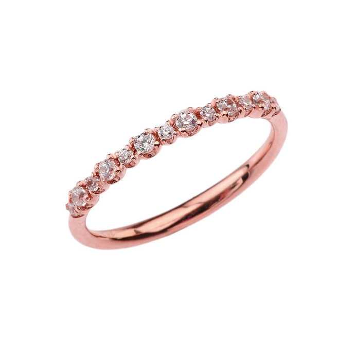 Dainty Fashion Chic Cubic Zirconia Ring in Rose Gold