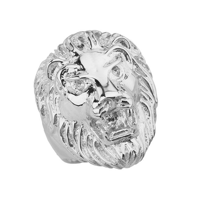 Roaring Lion Ring in White Gold