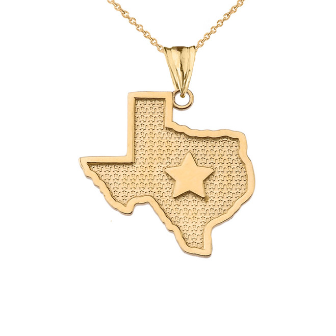 Texas Lone Star Map Silhouette in Yellow Gold