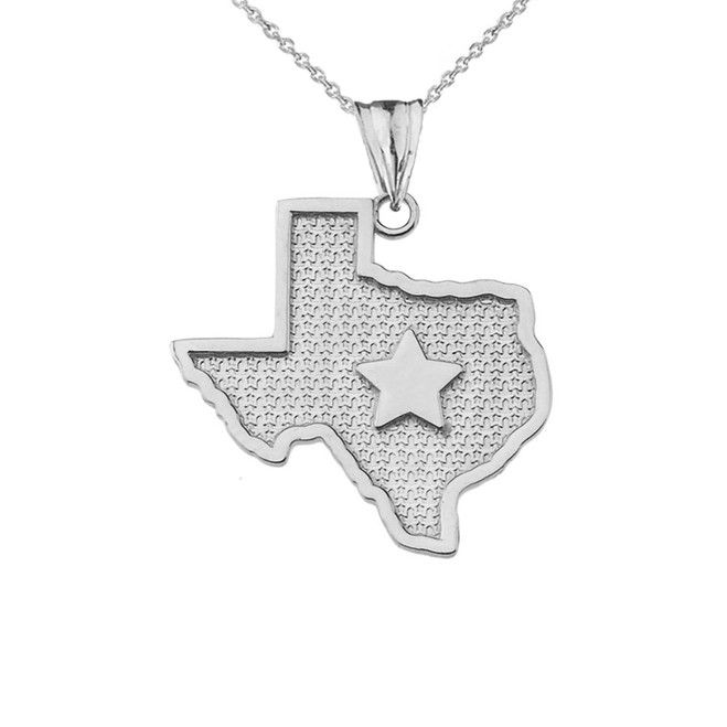 Texas Lone Star Map Silhouette in Sterling Silver