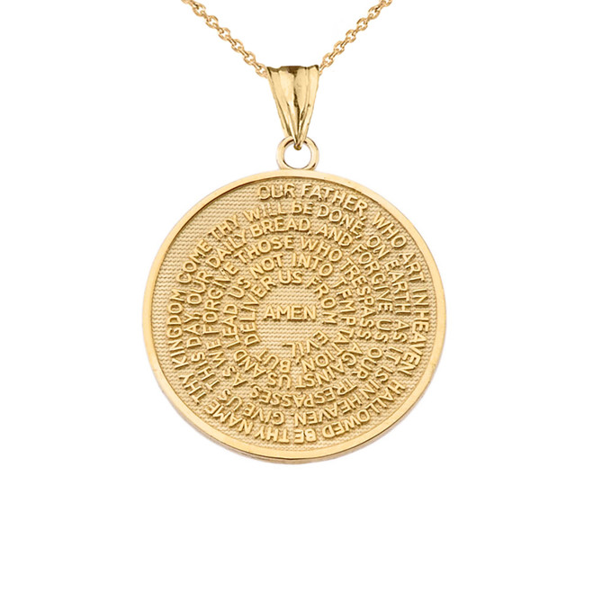 The Lords Prayer Medallion Pendant Necklace in Yellow Gold