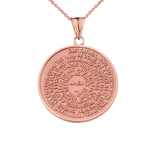 The Lords Prayer Medallion Pendant Necklace in Rose Gold