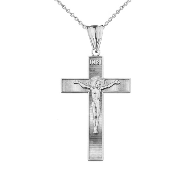 INRI Halo Crucifix Cross Pendant Necklace in Sterling Silver