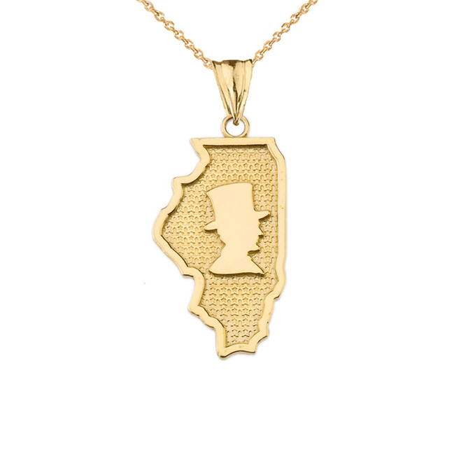 Illinois The Land of Lincoln State Map Silhouette in Yellow Gold