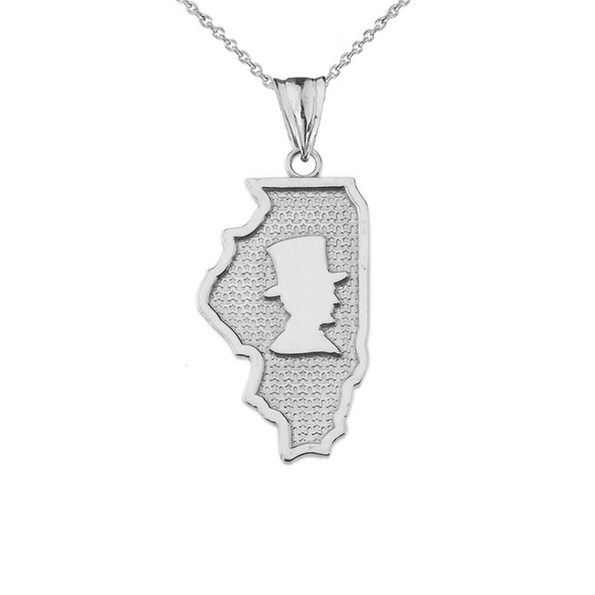 Illinois The Land of Lincoln State Map Silhouette in Sterling Silver