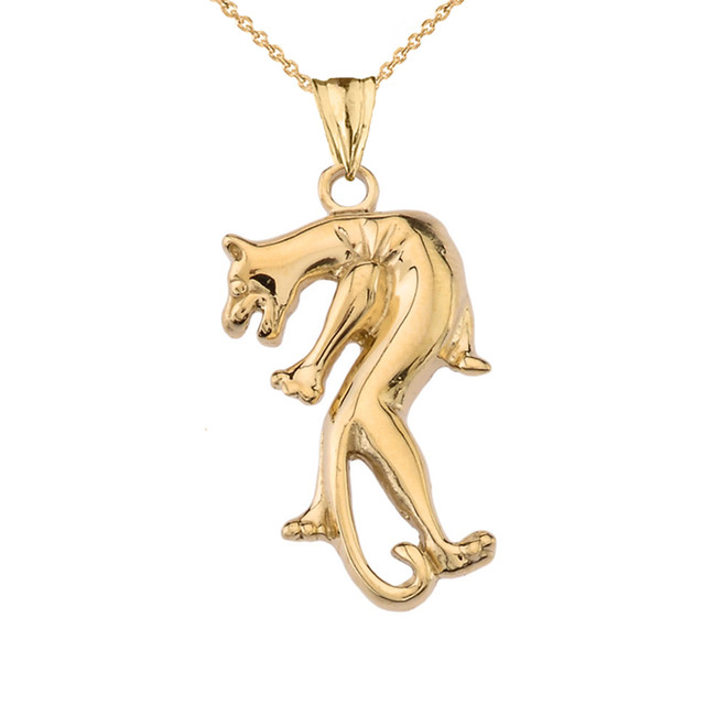 Yellow Gold Panther Pendant Necklace