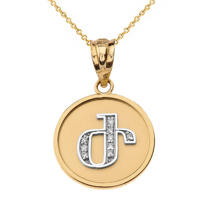 """Solid Two Tone Yellow Gold Armenian Alphabet Diamond Disc Initial """"Zh"""" Pendant Necklace"""