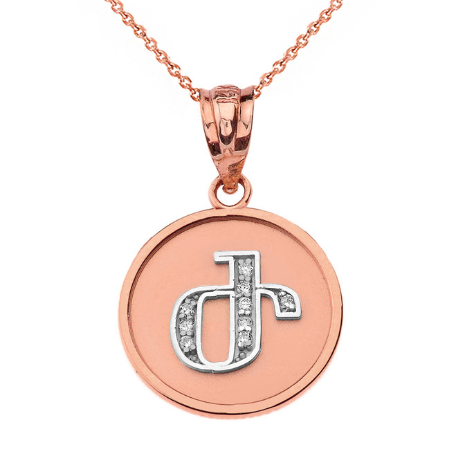 "Solid Two Tone Rose Gold Armenian Alphabet Diamond Disc Initial ""Zh"" Pendant Necklace"
