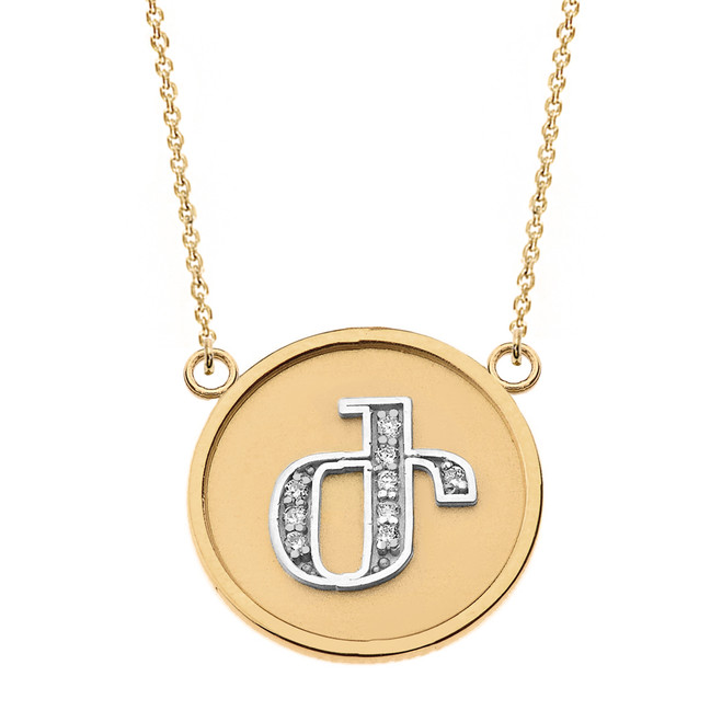 """14K Solid Two Tone Yellow Gold Armenian Alphabet Diamond Disc Initial """"Zh"""" Necklace"""
