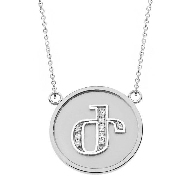 "14K Solid White Gold Armenian Alphabet Diamond Disc Initial ""Zh"" Necklace"