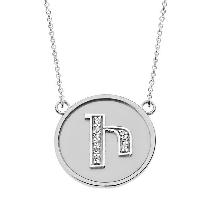 "14K Solid White Gold Armenian Alphabet Diamond Disc Initial ""I"" Necklace"