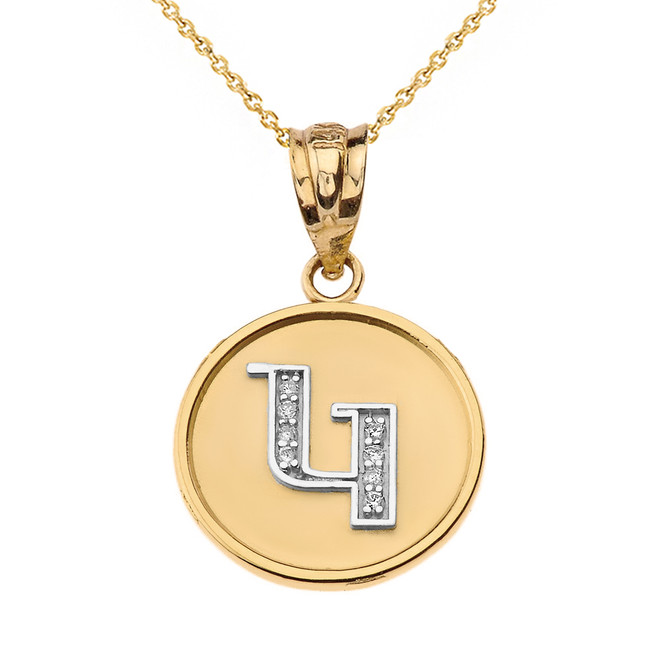 """Solid Two Tone Yellow Gold Armenian Alphabet Diamond Disc Initial """"G"""" Pendant Necklace"""