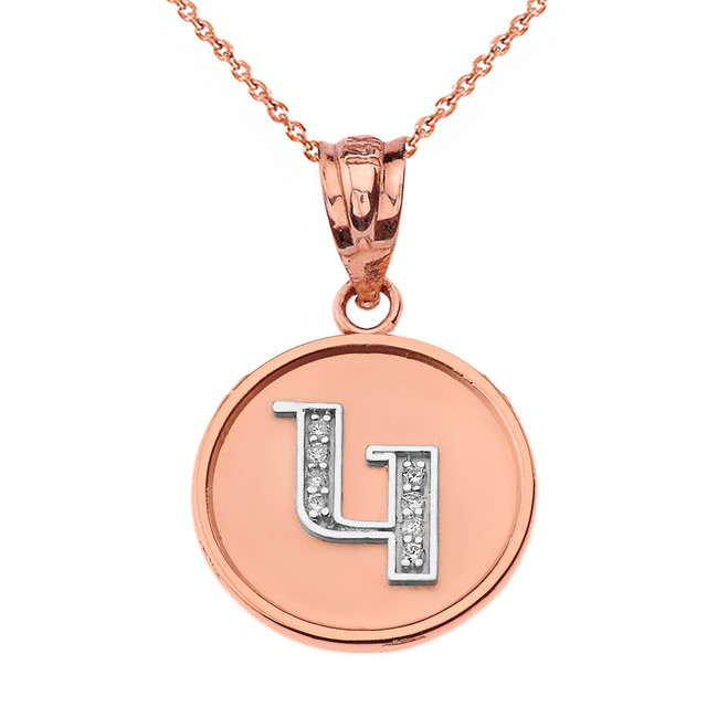 "Solid Two Tone Rose Gold Armenian Alphabet Diamond Disc Initial ""G"" Pendant Necklace"