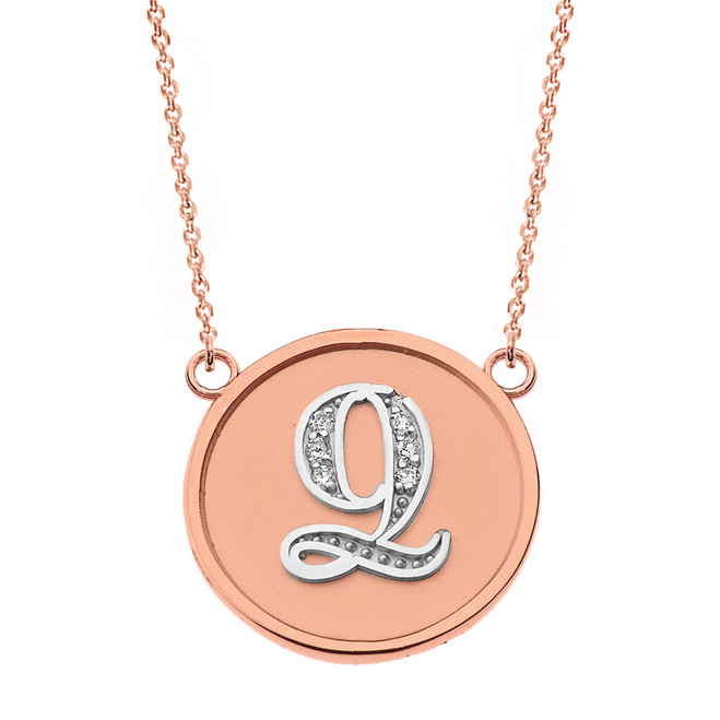 "14K Solid Two Tone Rose Gold Armenian Alphabet Diamond Disc Initial ""Ts"" or ""Dz"" Necklace"