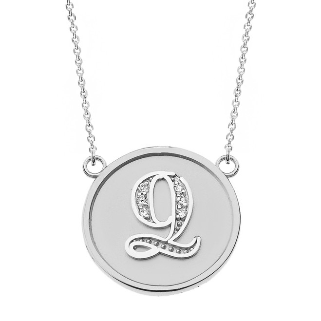 """14K Solid White Gold Armenian Alphabet Diamond Disc Initial """"Ts"""" or """"Dz"""" Necklace"""
